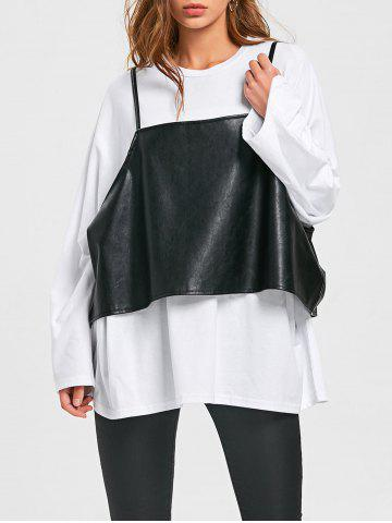 Shops Long Sleeve Oversize T-shirt+PU Leather Caim Top