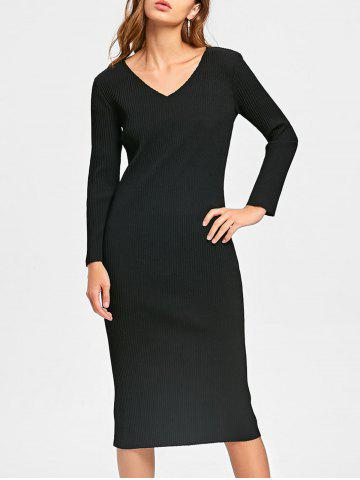 Discount Cut Out Long Sleeve Mid Calf Ribbed Dress BLACK M