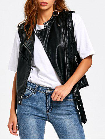 Discount PU Leather Epaulet Zipper Pockets Waistcoat BLACK M