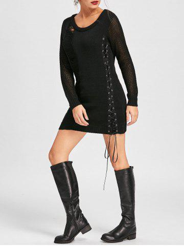Online Distressed Lace Up Mini Jumper Dress