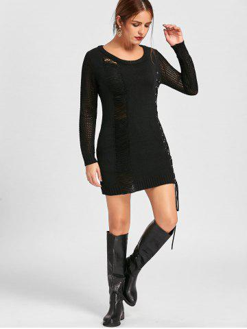 Distressed Lace Up Mini Jumper Dress