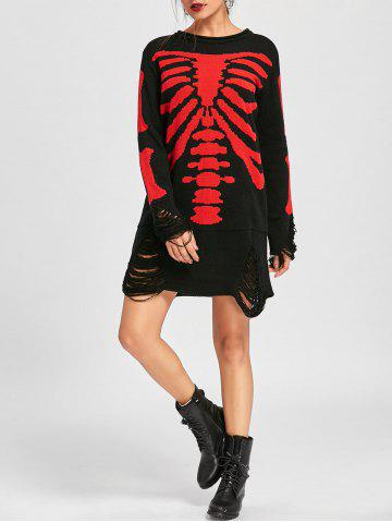 Fashion Halloween Distressed Skeleton Jumper Dress BLACK RED XL