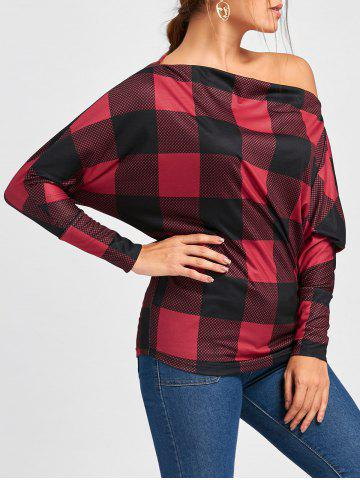 Latest Skew Collar Plaid Batwing Sleeve Top