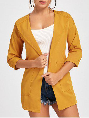 Cheap Double Pockets Open Front Tunic Coat