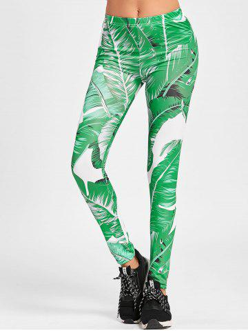 Fancy Banana Leaf Print Skinny Leggings
