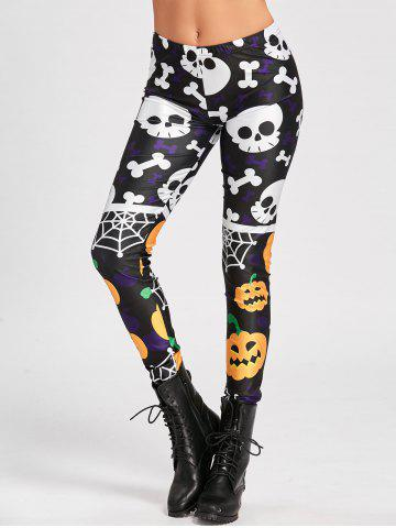 Hot Pumpkin Spider Web Skull Halloween Leggings