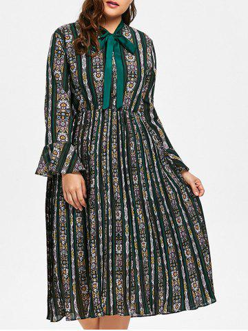 Outfit Plus Size Striped Floral Print Bell Sleeve Pleated Dress