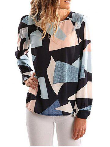 Outfits Zipper Back Color Block Blouse