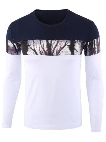 White Xl Forest Print Color Block Long Sleeve Tee