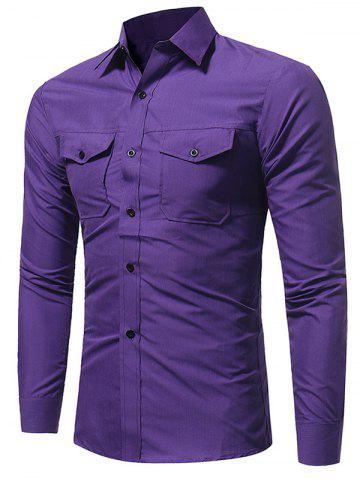 Slim Fit Double Pockets Fatigue Shirt