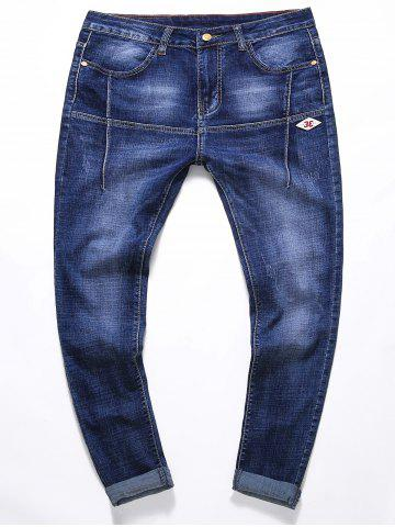 Fancy Stretchy Panel Applique Zipper Fly Jeans