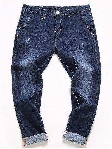 Shops Straight Leg Slim Fit Bleach Wash Jeans