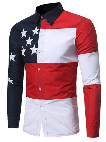 Impression des blocs de couleurs Print Patriotic Shirt