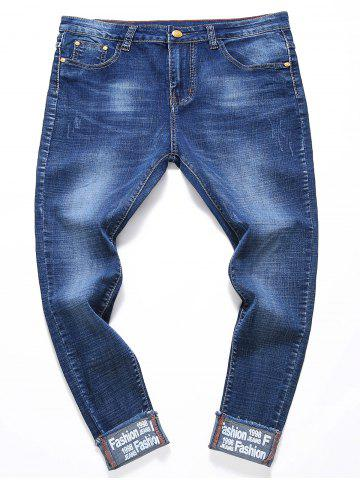 Store Bleach Wash Hemming Graphic Print Jeans
