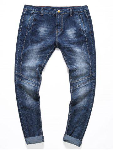Bleach Wash Panel Stretchy Jeans