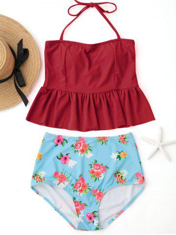 Shops Peplum High Waisted Floral Tankini Set