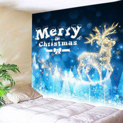 Christmas Deer Print Tapestry Wall Hanging Art Decoration - Blue - W91 Inch * L71 Inch