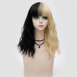 Medium Full Bang Double Color Natural Wave Synthetic Party Wig - BLACK AND GOLDEN