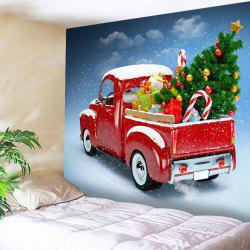 Car Christmas Tree Print Tapestry Wall Hanging Art Decoration - Red - W91 Inch * L71 Inch