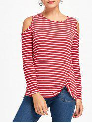 Front Knot Cold Shoulder Striped Tee -