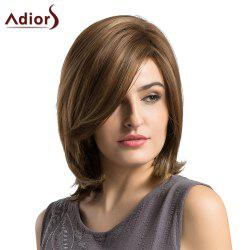 Adiors Short Side Fringe Slight Tail Adduction Straight Bob Synthetic Wig - BROWN
