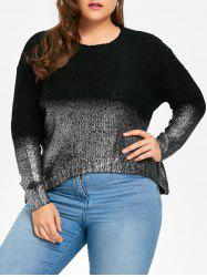 Plus Size  Glitter Asymmetric Ombre Sweater -