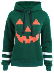 Plus Size Flocking Drop Shoulder Halloween Pumpkin Hoodie - Green - 2xl
