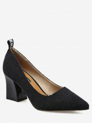 Chunky Heel Stripes Pointed Toe Pumps - BLACK 35