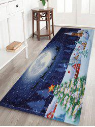 Bathroom Antiskid Christmas Tree Snow Moon Rug - Blue - W24 Inch * L71 Inch