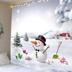 Snows and Christmas Snowman Pattern Waterproof Wall Art Tapestry - Colorful - W59 Inch * L51 Inch