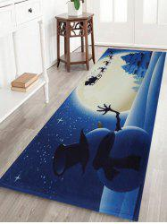 Christmas Snowman Moon Tree Antiskid Bath Mat - Blue - W24 Inch * L71 Inch