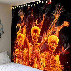 Waterproof Wall Hanging Halloween Skulls Printed Tapestry - Colorful - W91 Inch * L71 Inch