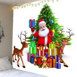 Santa Claus and Christmas Gifts Waterproof Wall Art Tapestry - Colorful - W79 Inch * L71 Inch