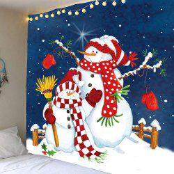 Waterproof Christmas Snowman Printed Wall Decor Tapestry - Colorful - W79 Inch * L71 Inch