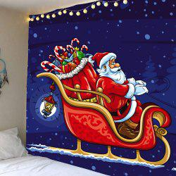 Christmas Carriage Santa Claus Pattern Waterproof Wall Art Tapestry - Colorful - W79 Inch * L71 Inch