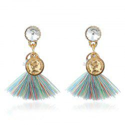 Bohemian Tassel Engraved Coin Earrings - COLORMIX