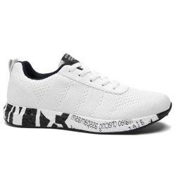 Mesh Letter Breathable Sneakers - WHITE 40