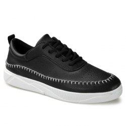 Whipstitch Faux Leather Low-top Sneakers - BLACK 43