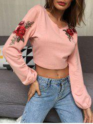 Embroidery Open Back Crop Top -
