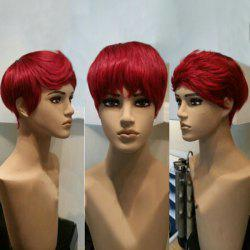 Free Part Short Straight Pixie Synthetic Wig - RED