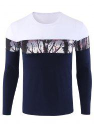 Forest Print Color Block Long Sleeve Tee - BLUE 3XL