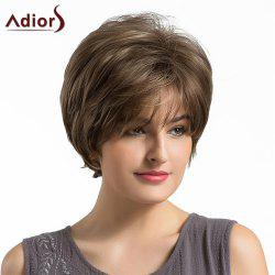 Adiors Short Side Bang Fluffy Layered Elegant Straight Synthetic Wig - BROWN