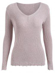 Plus Size Ribbed Scalloped Hem Knitwear -