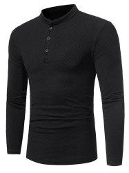 Long Sleeve Embossing Henley T-Shirt - BLACK 3XL