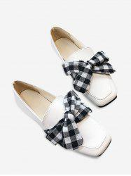 Slip On Square Toe Bowknot Flat Shoes - Blanc 38