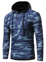 Camouflage Hooded Long Sleeve T-shirt - BLUE M