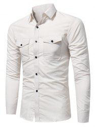 Slim Fit Double Pockets Fatigue Shirt - RAL1001Beige 3XL