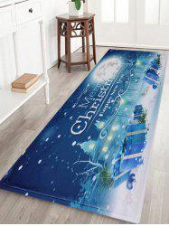 Christmas Night Pattern Anti-skid Water Absorption Area Rug - Blue - W24 Inch * L71 Inch