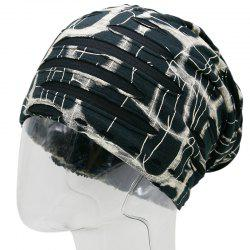 Plaid Stripe Print Ripped Knit Beanie - RAL1001Beige