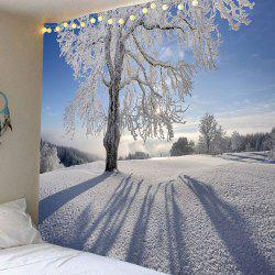 Waterproof Snowfield Trees Pattern Wall Hanging Tapestry - White - W79 Inch * L71 Inch